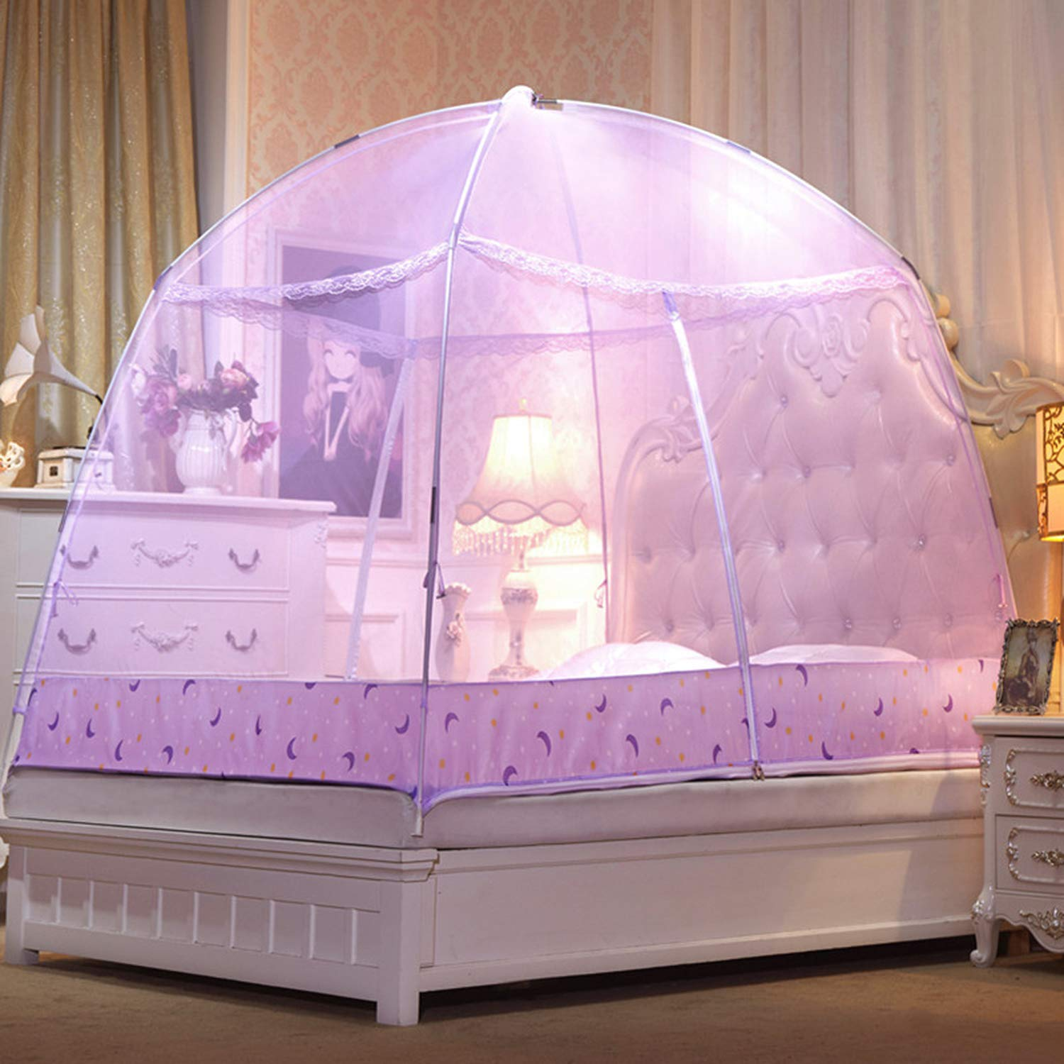 Romantic Purple Dome Mosquito Net Double Door Polyester Fabric Bed Netting Canopy Mosquito Netting Folding Netting Tent Bed,White,1.5m (5 feet) Bed by SuWuan mosquito net (Image #2)