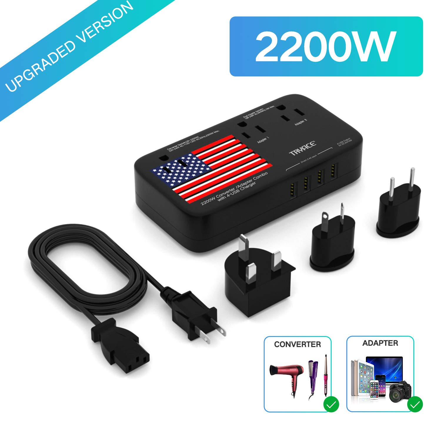 TryAce 2200W Exclusive Voltage Converter and 10A Travel Adapter with 4-Port USB,Power Converter Step Down 220V to 110V for Hair Dryer/Straightener/Curling Iron,US/UK/EU/AU Plug for 190+ Countries by TryAce