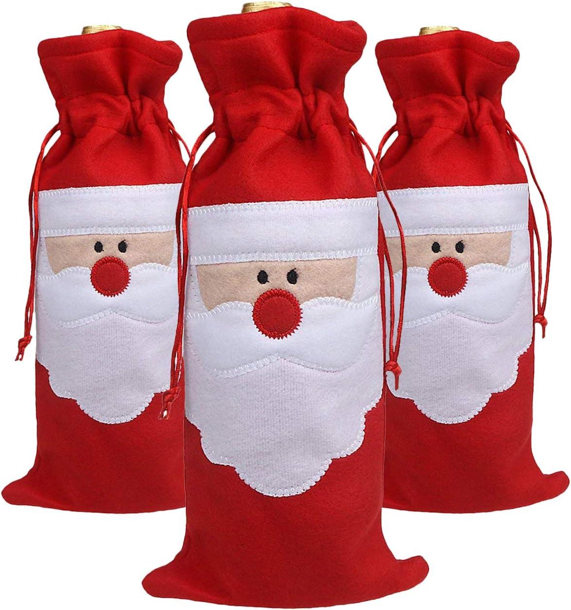 SUNTRADE Lot de 3 sacs cadeaux P/ère No/ël pour bouteille de vin//champagne//spiritueux