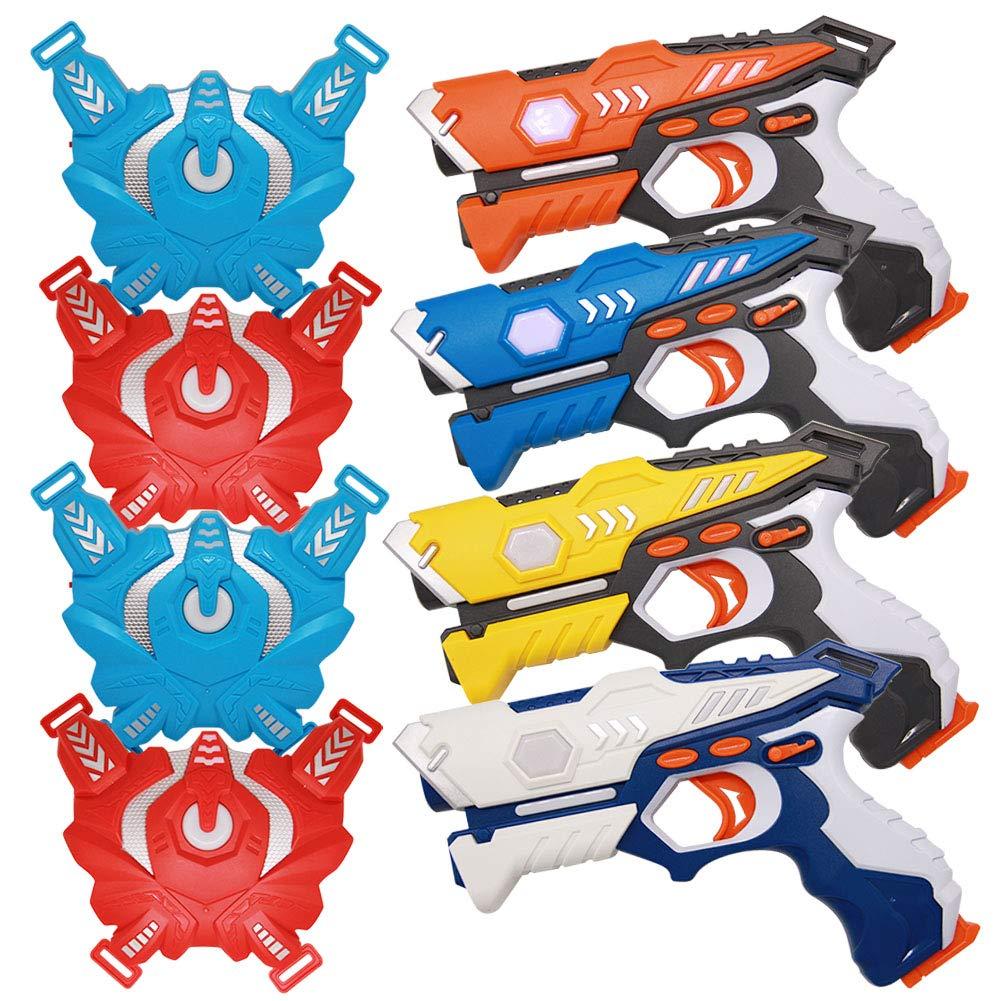 YOFIT Laser Tag Gun Set, Infrared Laser Tag Set with Vests, Infrared Laser Tag Blasters and Vests (4 Pack)