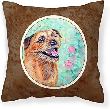 Amazon Com Caroline S Treasures 7228pw1414 Border Terrier Fabric Decorative Pillow 14hx14w Multicolor Garden Outdoor