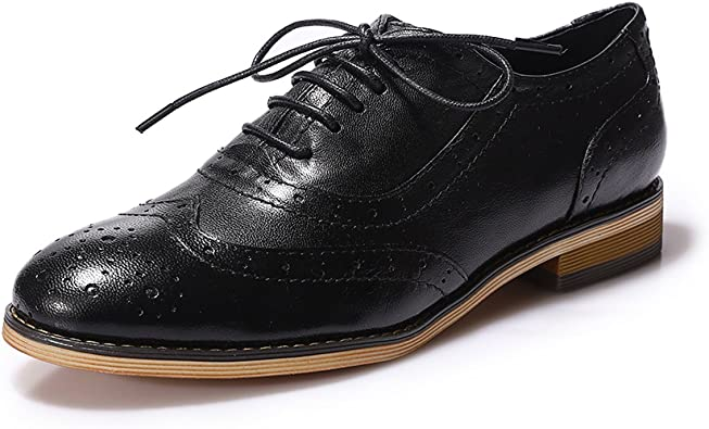 Amazon.com   Mona flying Women's Leather Perforated Lace-up Oxfords Brogue  Wingtip Derby Saddle Shoes for Girls ladis Women   Oxfords
