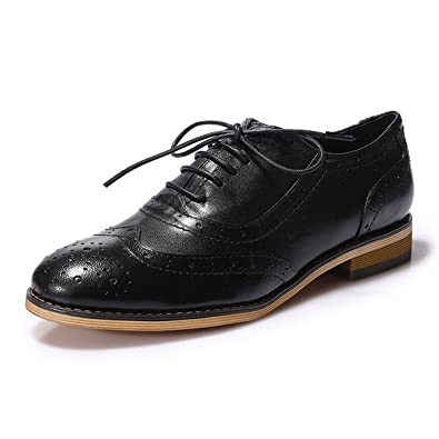 beaddd7af0 Mona flying Womens Leather Lace-up Dress Oxfords Derby Shoes for Womens  Ladies Black