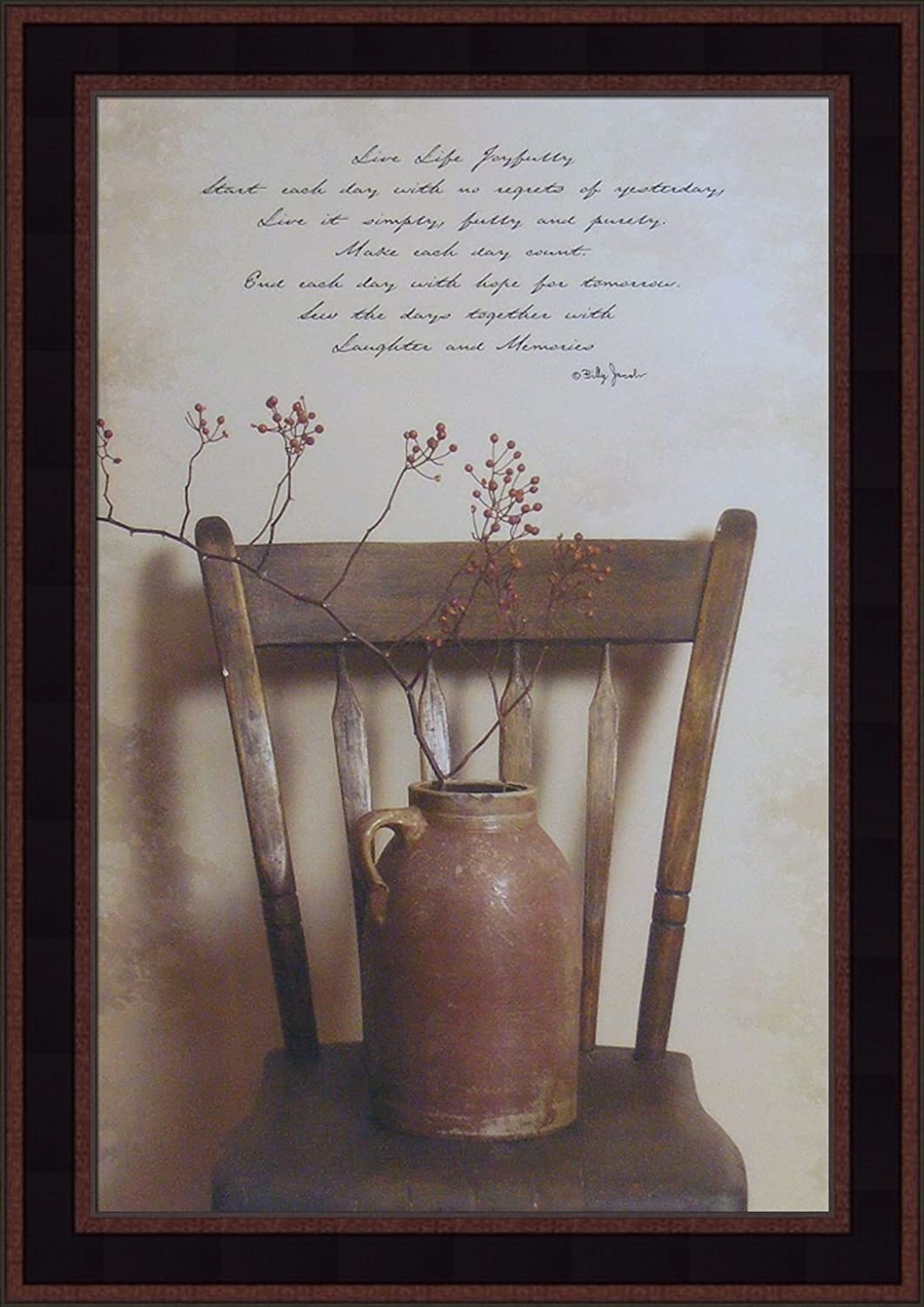 Home Cabin Décor Live Life Joyfully by Billy Jacobs 15x21 Chair Crock Inspirational Primitive Photography Folk Art Framed Print Picture