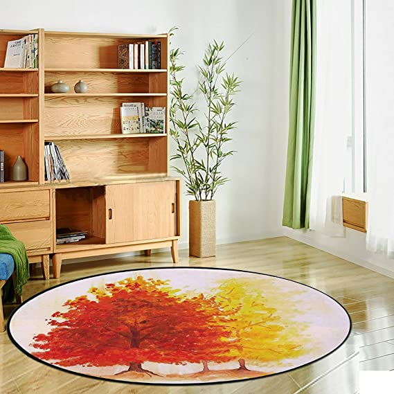 woodland theme decor ideas get the look at home.htm amazon com printing round rug  leaves  two different fall tree in  amazon com printing round rug  leaves