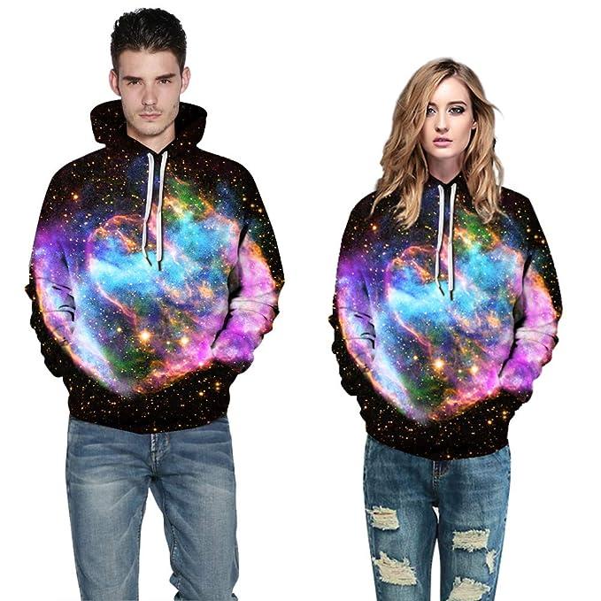 Men Zipper Hoodie Starry Sky Galaxy 3D Digital Full Print Casual Sweatshirts