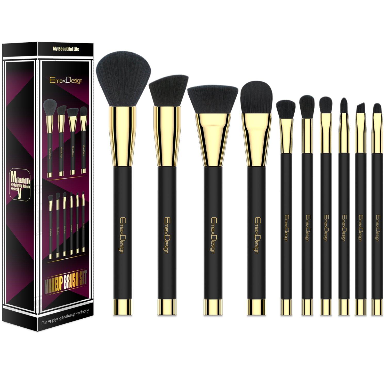 EmaxDesign 10 piezas Juego de brochas de maquillaje cara Fundación Blush de ojos sombra de ojos labios pinceles de maquillaje polvo líquido crema cosméticos ...