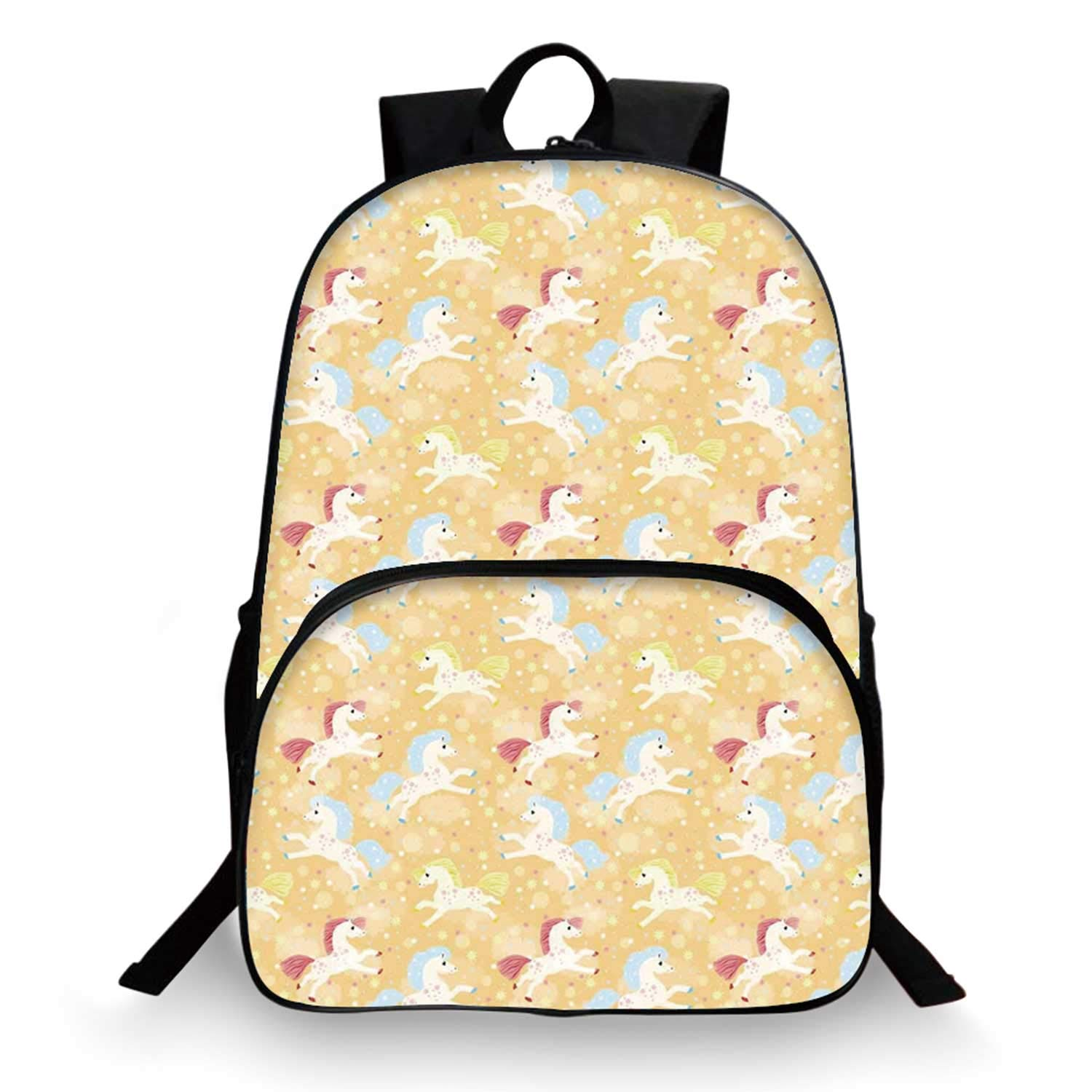 Kids Decor Various Schoolbag,Nursery Boys Girls Room Unicorns with Abstract Stars Light Salmon Backdrop Image for student,11''Lx6''Wx15''H by C COABALLA