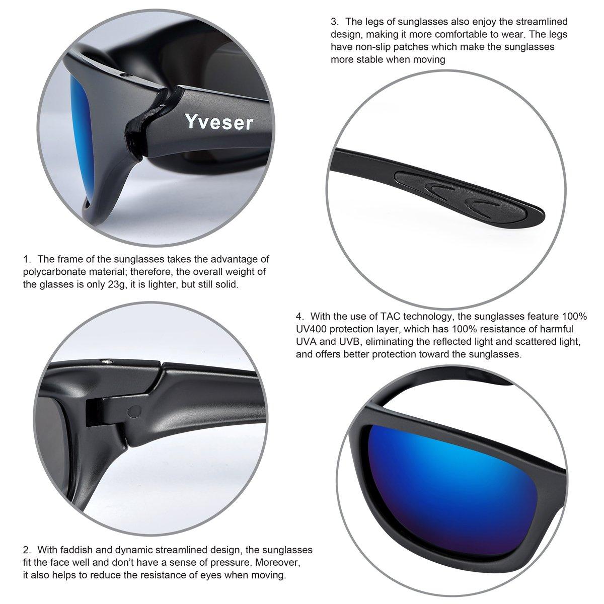 Yveser Lunettes de Soleil Polarisées Pour homme - UV400 pour Sports Baseball Course Cyclisme Pêche Randonnée ski Golf Yv148 (Lentille Noire/Gris Motif Cadre) ewy3z8