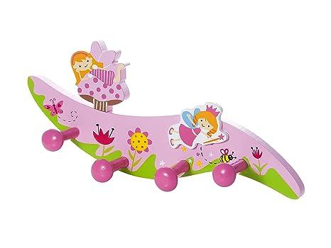 Perchero de pared para la ropa hecho de madera con cuatro ganchos y decoración de hadas para la habitación de los niñas