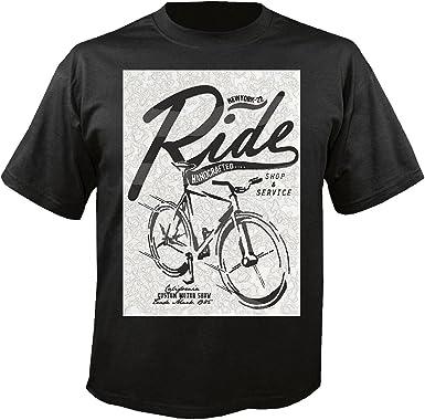 T-Shirt Camiseta Remera La Bici de montaña Shop TREKKINGSRAD Bicicleta de la montaña de la Bici reparación de Ciclo del Paseo en Bicicleta BTT Camisa in Negro: Amazon.es: Ropa y accesorios