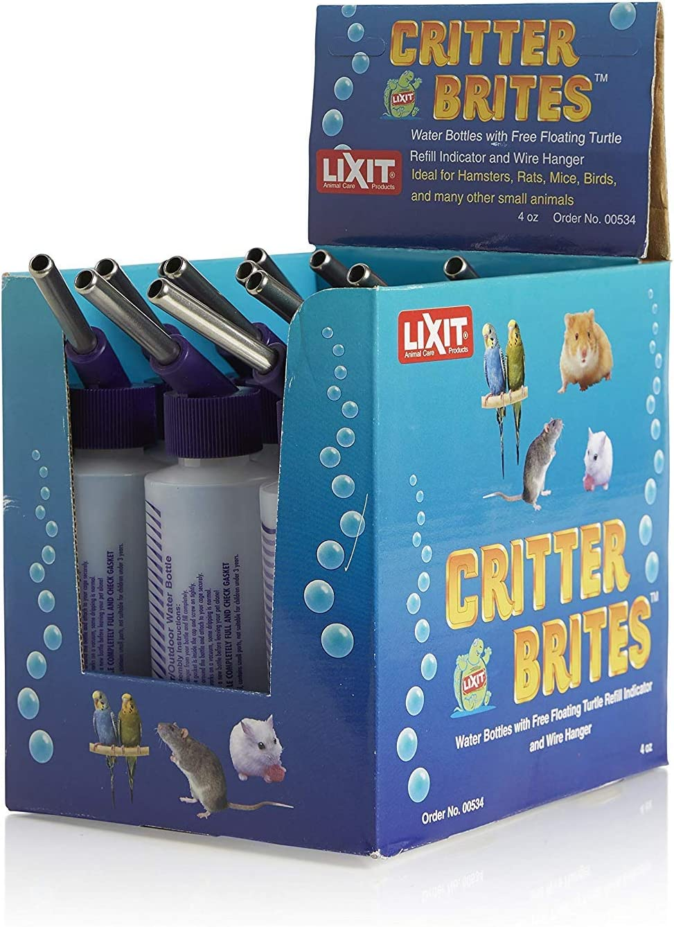 Lixit Corporation SLX0537 6-Pack Critter Brites Small Animal Water Bottles Day Glow 32-Ounce