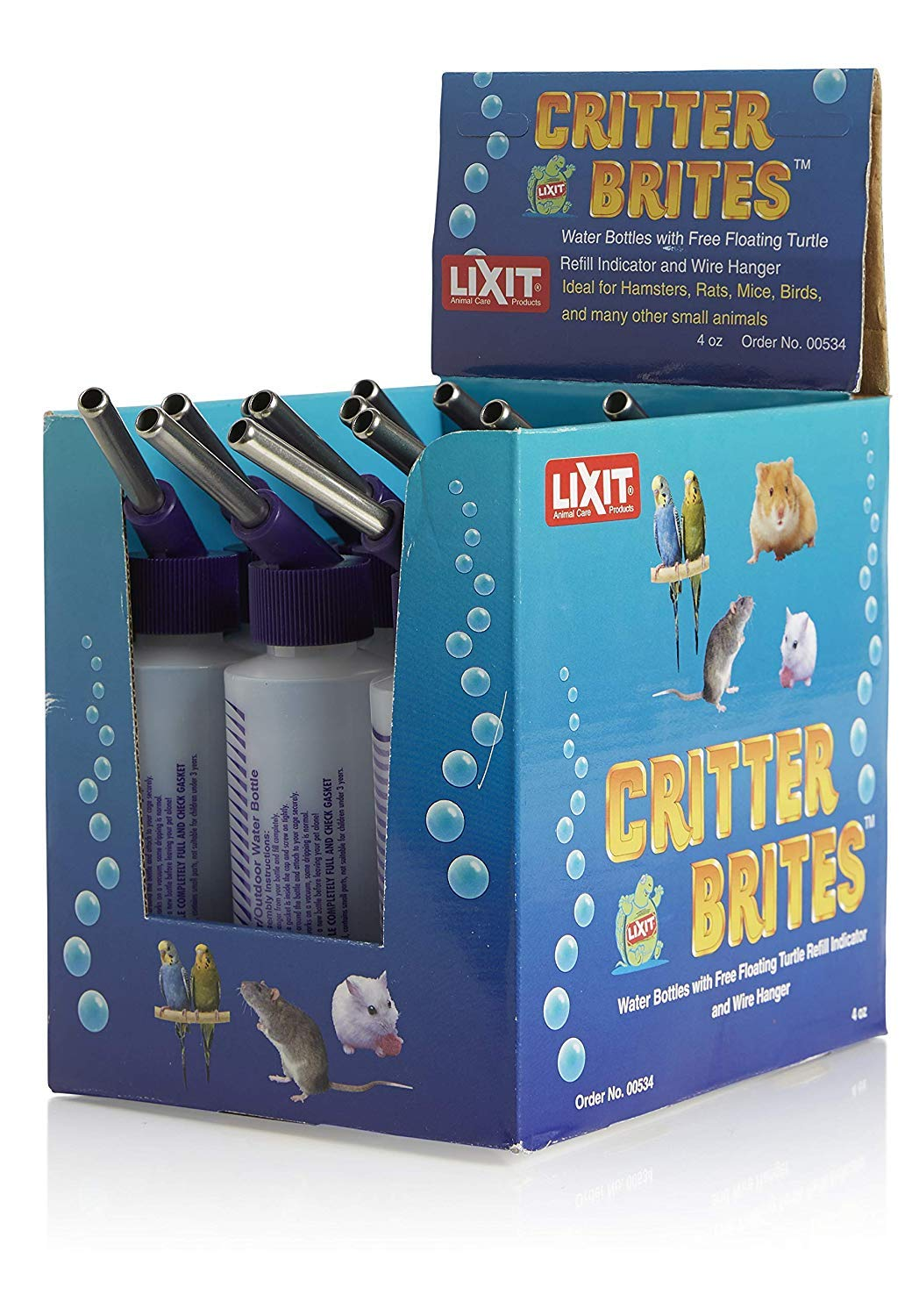 Lixit 12-Pack Critter Brites Small Animal Water Bottles, 4 Oz, Day Glow by Lixit