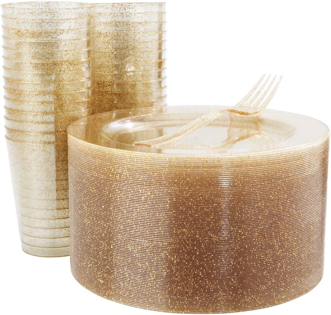 50 PCS Gold Glitter Salad Plates with 50 PCS Plastic Forks and 50 PCS Gold Disposable Cups 9oz, Shiny Dessert Plates 7.5 inch for Party (WELLIFE)