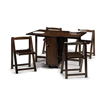 54d6e9b877f1 Crantock Dining Set with 4 Folding Chairs - Extending Table Mahogany Finish  - Fold Away Dining