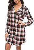 Womens Long Sleeve Nightgown Sleepwear Summer Slip