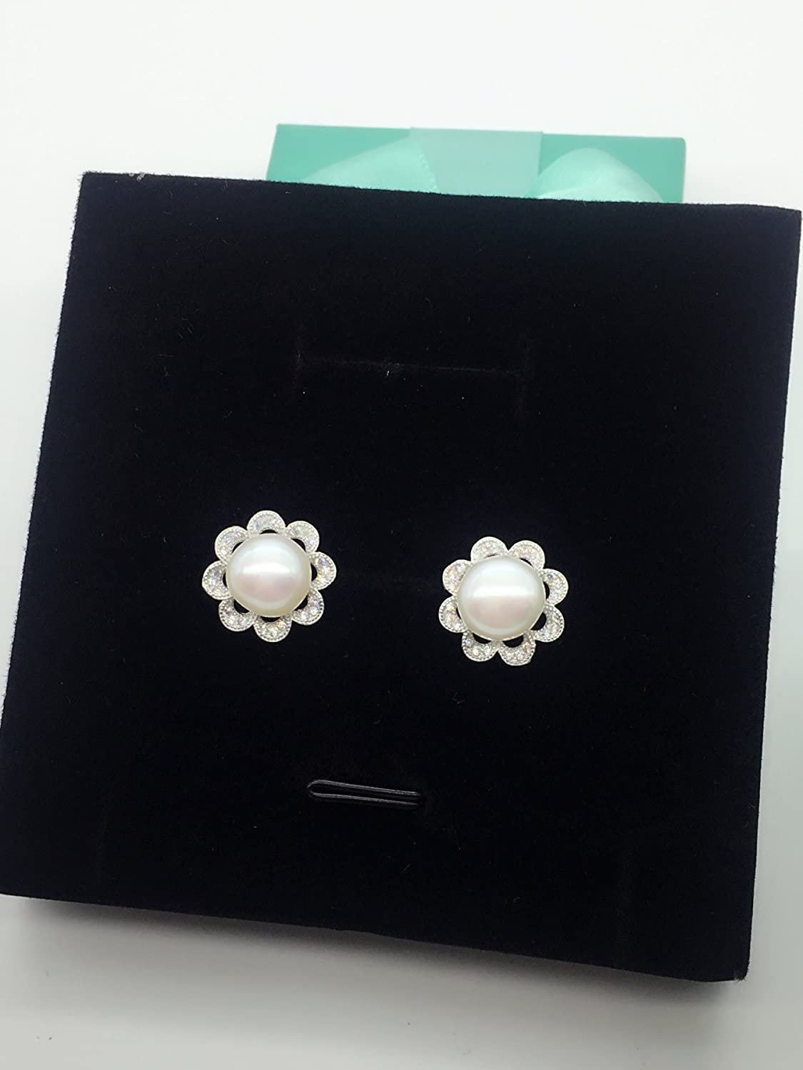 Helen de Lete Sun Flower Big Pearl 925 Sterling Silver Stud Earrings
