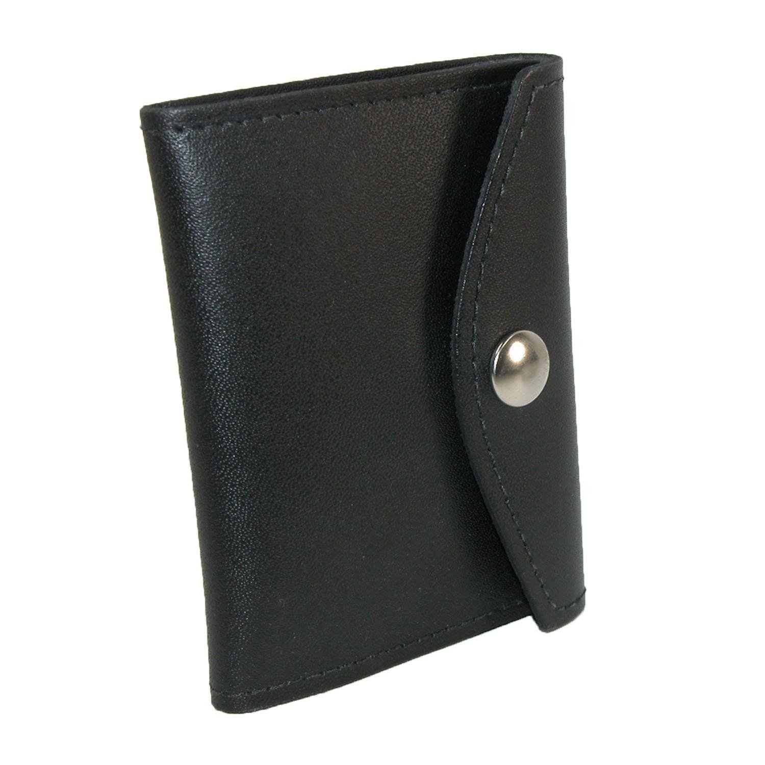 Boston Leather Leather Book Style Badge Case with Snap Closure, Black