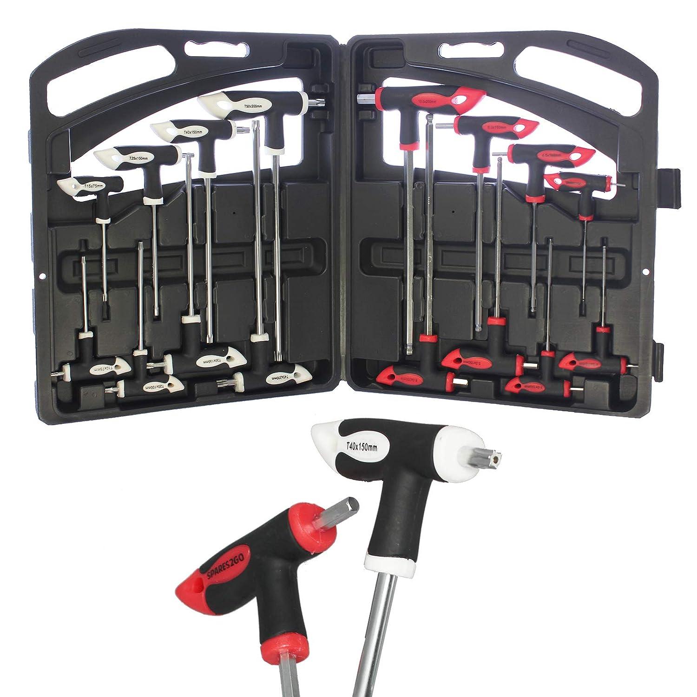 Spares2go 16 Piece T Handle Metric Hex Allen /& Star Torx Key Tool Set