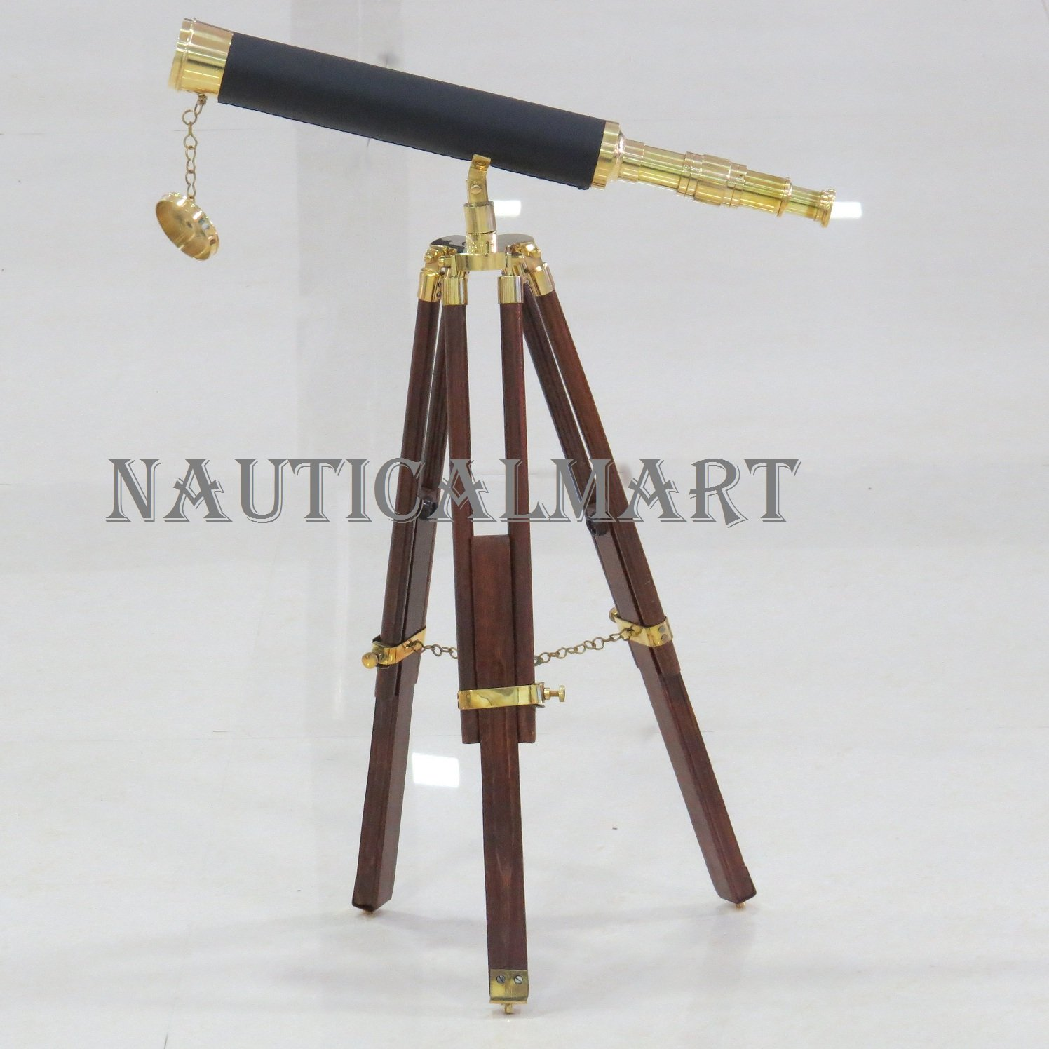 Brass/Leather Harbor Master Floor Standing Telescope 30'' - Leather - Harbormaster by NAUTICALMART