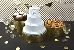 Jack Cube Cake Stand Set of 3, Cupcake Display Supplies Tray Plate for Decorative Party(8inch, 10inch, 12inch / Gold) - MK197ABCG