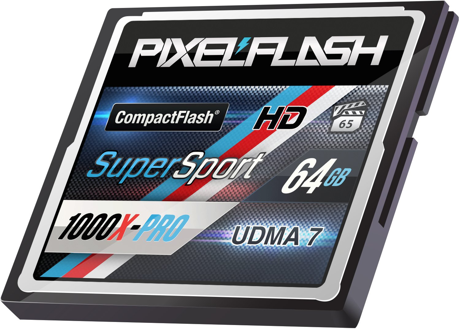 PixelFlash 64 GB SuperSport CompactFlash Memory Card 1106X Pro Fast Transfer Speeds up to 167MB/s for Photo and Video Storage