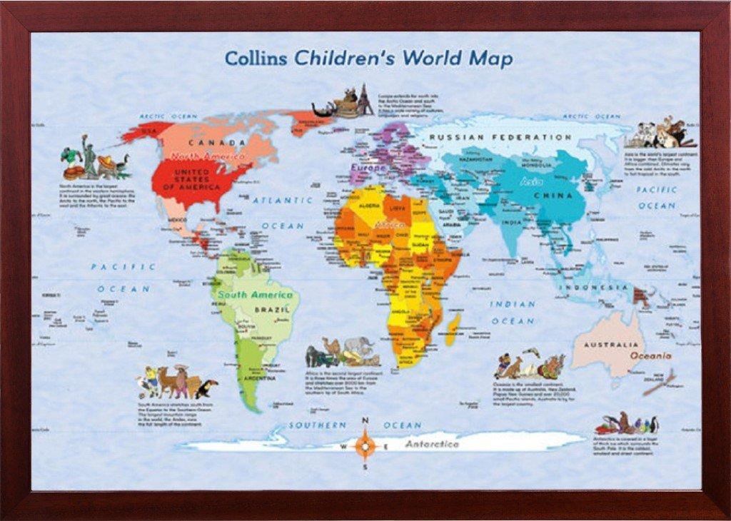 コリンズChildren 's World Mapポスター 24  x 36  Inch 24  x 36  Inch (24x36) Detail Dry Mounted Poster In Brown Frame B00XAZ0R96