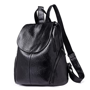 ae46b7c679cd Image Unavailable. Image not available for. Color  Travel Backpack Korean  Women Female Rucksack Leisure Student School Bag Soft Pu Leather ...