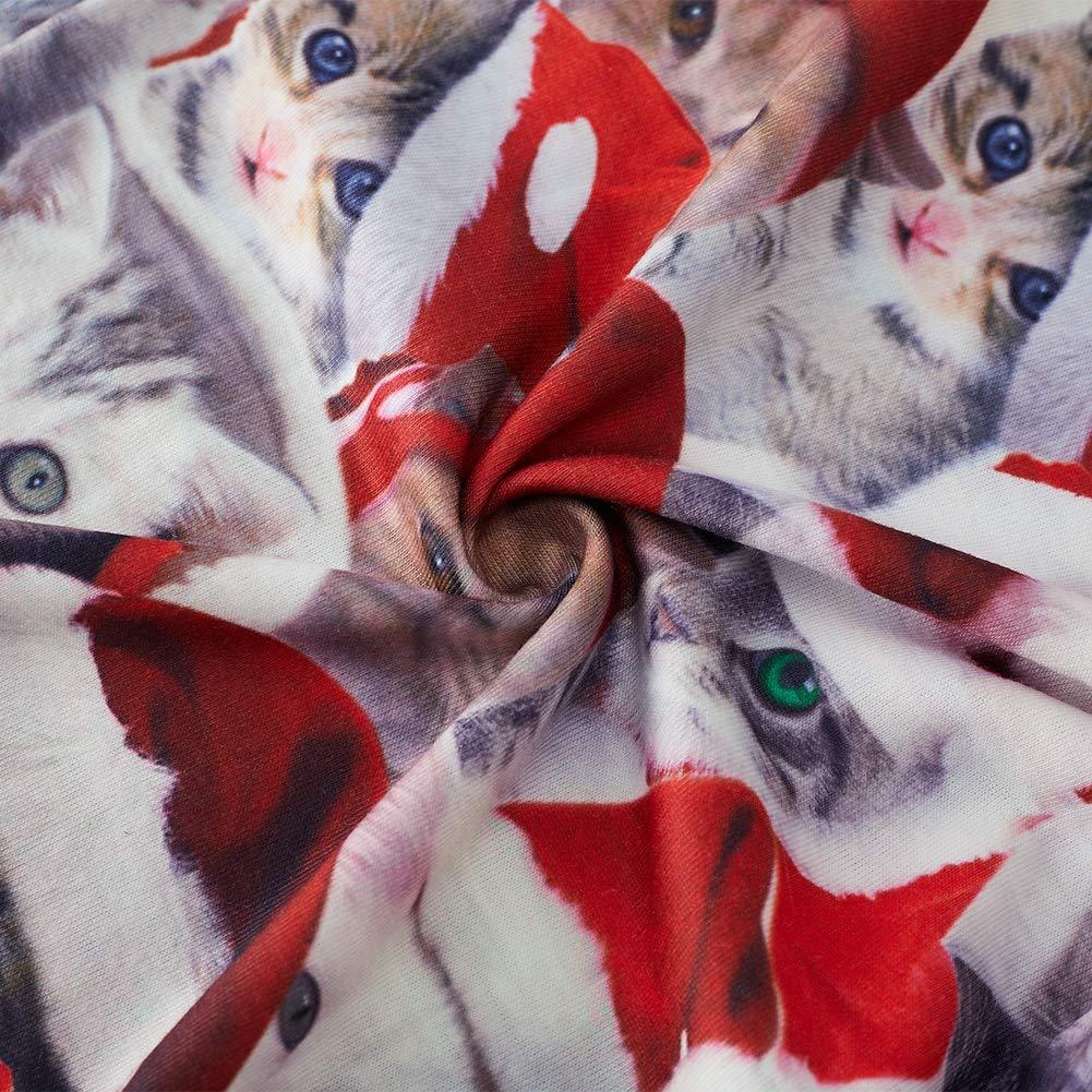 RAISEVERN Weiche Schlafanzughose Niedliche Weihnachtskatze Gedruckt Unterseiten Weihnachtsmütze Muster Schlaf Pjs Taschen Kordelzug Loungewear Hosen Geschenk für Teen Ehemann Freund