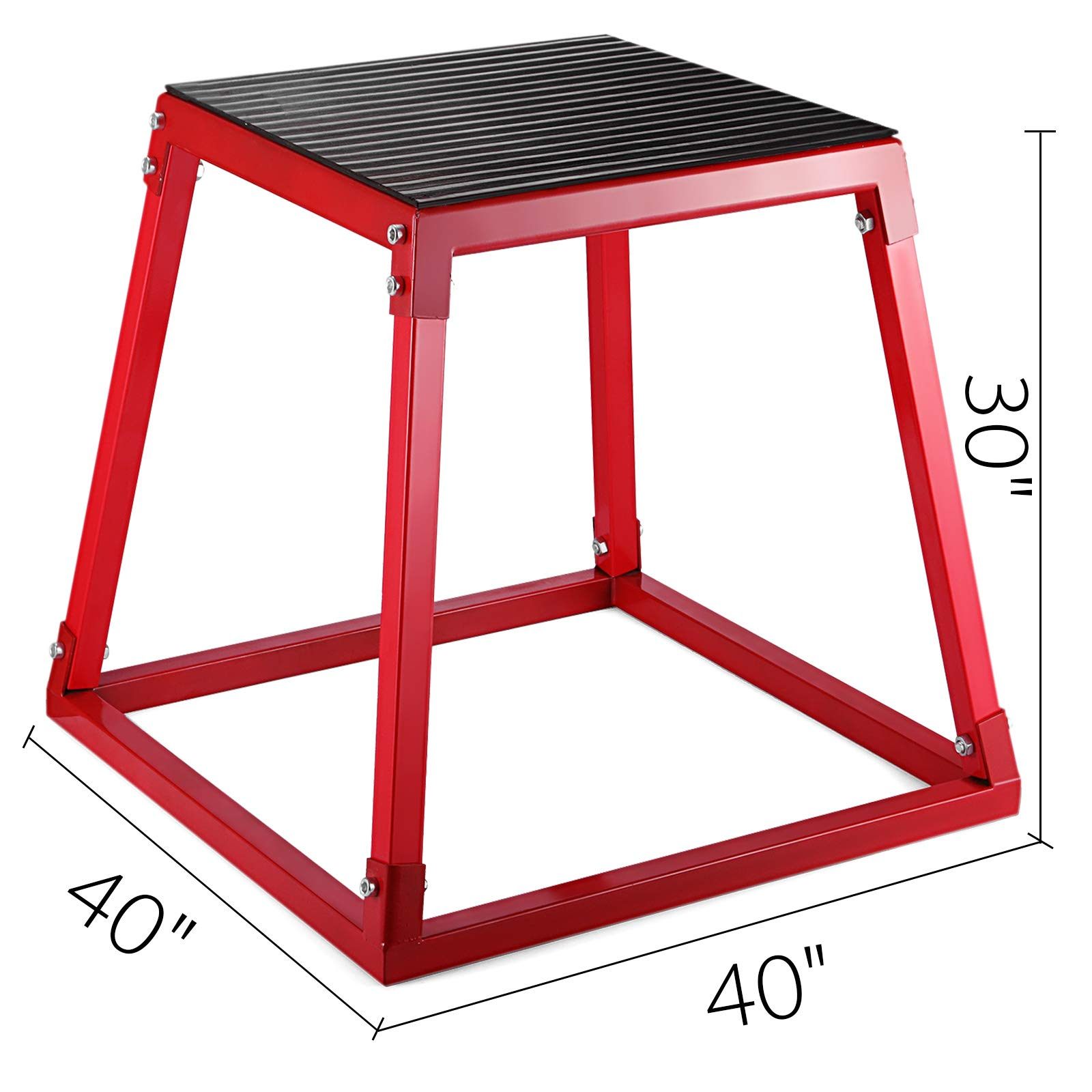 popsport Plyometric Platform Box 12/18/24/30 Inch Fitness Exercise Jump Box Step Plyometric Box Jump for Exercise Fit Training (red, 30inch)
