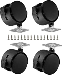 ShineIn Black Plastic 2 inch Plate Casters with Brakes 360 Degree Rotation Wheels Set of 4 with 16 Screw