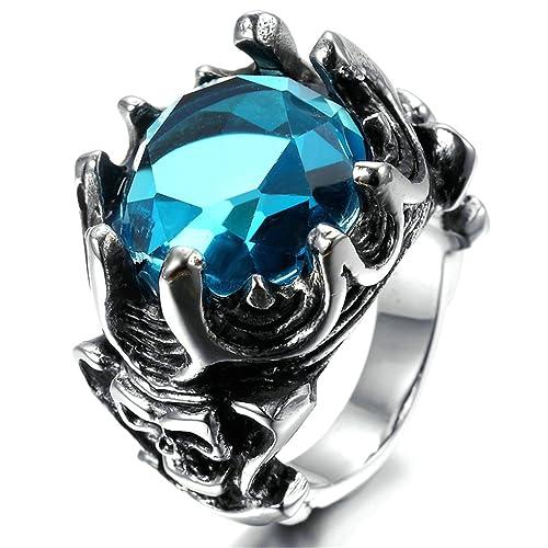 AieniD Anillo Hombre de Acero Inoxidable Corona Retra Gótico Vintage Banda Azul 16x18mm Tamaño 30