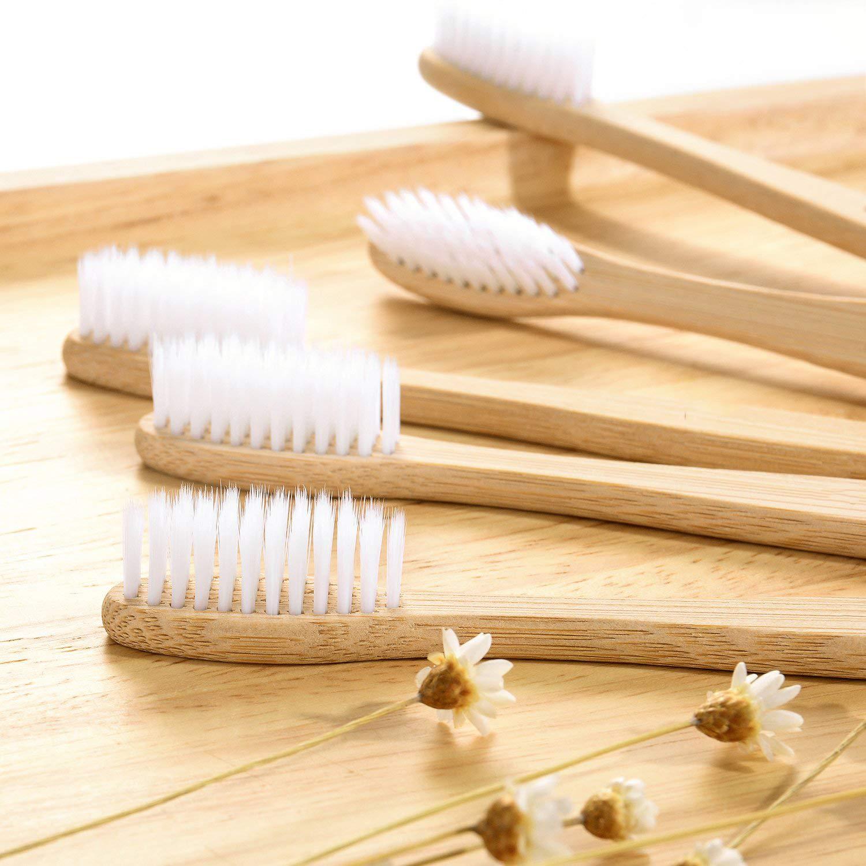 ECBIO Biodegradable Eco-Friendly Natural Bamboo Toothbrush Standard Nylon Bristles (Set of 4 White Black)