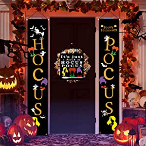 Kozart Halloween Hocus Pocus Decor, Halloween Banner Outdoor Hanging Sign for Front Porch Decor or Holiday Home Indoor Porch Wall Party Welcome Signs