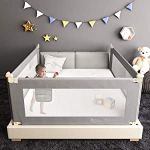 """Extra Long Bed Rails for Toddlers, Folding Bed Safety Rail for Baby, Crib Guardrail for Kids with Dual Lock (70"""" - 1 Side only)"""