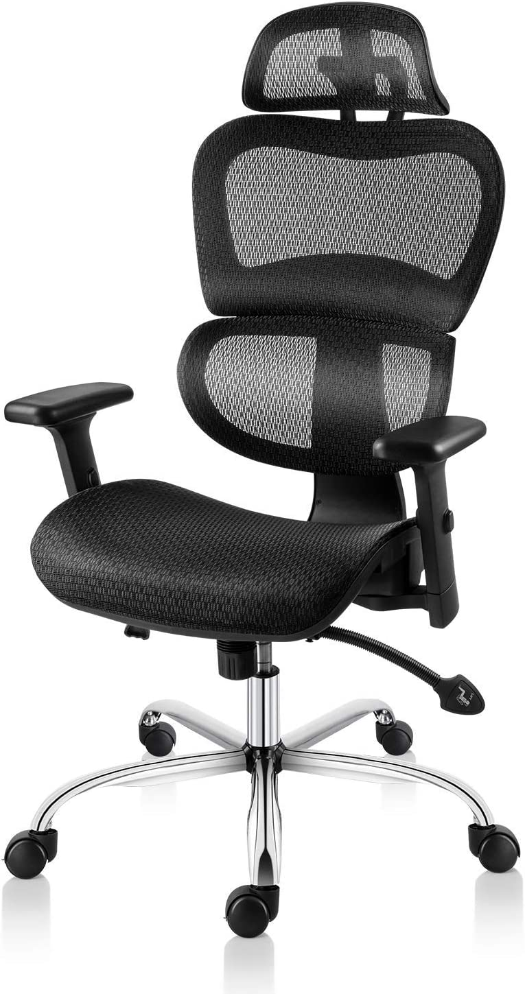 Smugdesk Ergonomic Office Chair High Back Mesh Chairs with Lumbar Support, Adjustable Headrest and 3D Armrest Executive Swivel Chair (Black)
