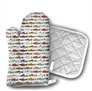 Rainbow Colored Trout and Salmon Oven Mitts and Potholders (2-Piece Sets) - Kitchen Set with Cotton Heat Resistant,Oven Gloves for BBQ Cooking Baking Grilling