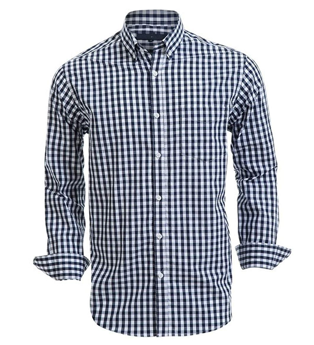 Croft /& Barrow Mens Classic Fit Casual Button Down Long Sleeve Shirt Navy Gingham