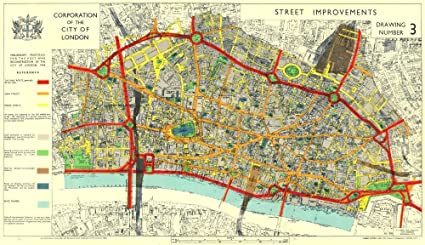 Map Of City Of London.Amazon Com City Of London Post War Reconstruction Planned Ring
