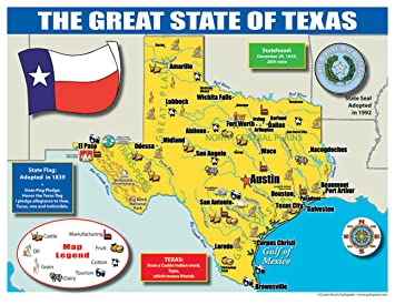Amazoncom Gallopade Publishing Group Texas State Map For - Texas state map