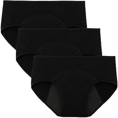 INNERSY Bragas Menstruales Absorbentes de Mujer para Período Algodón Pack de 3 (L-EU 42, 3 Negro): Amazon.es: Ropa y accesorios