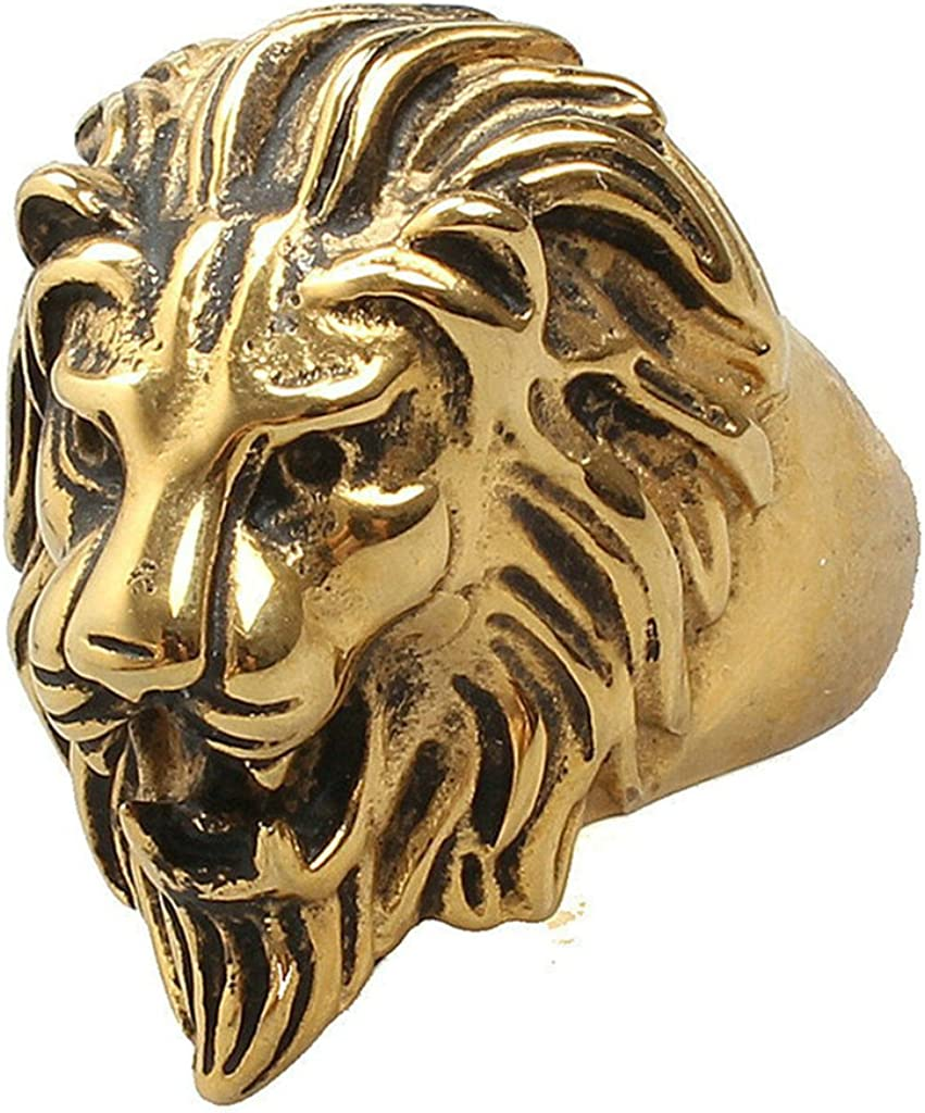 Aooaz Mens Stainless Steel Ring Gold Plated Lion Head Ring Punk Retro Vintage Wedding Band