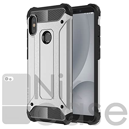 brand new 85ac0 08cbc Nik case Shockproof Hard Rugged Cover, PC & TPU Hybrid Tough Armor Back  Phone Case for Redmi Note 5 Pro (M Silver)