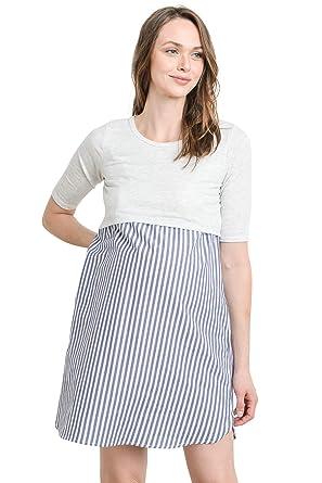 952f56cc4da90 LaClef Women's Maternity Nursing Shift Dress with Side Pocket (H Gray/Black  Stripe,