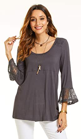 SONJA BETRO Women's Knit Lace Cuff Scoopneck Tunic Plus Size