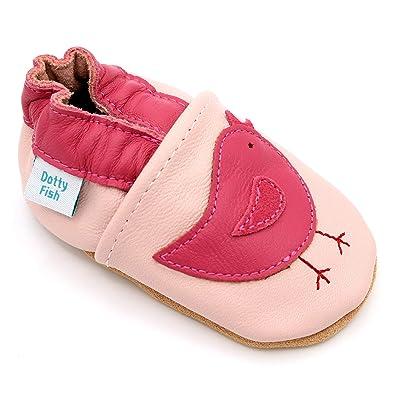 184d92b3aab0d Dotty Fish Chaussures en Cuir Souple pour bébé et Tout-Petit Semelles  antidérapantes en Daim