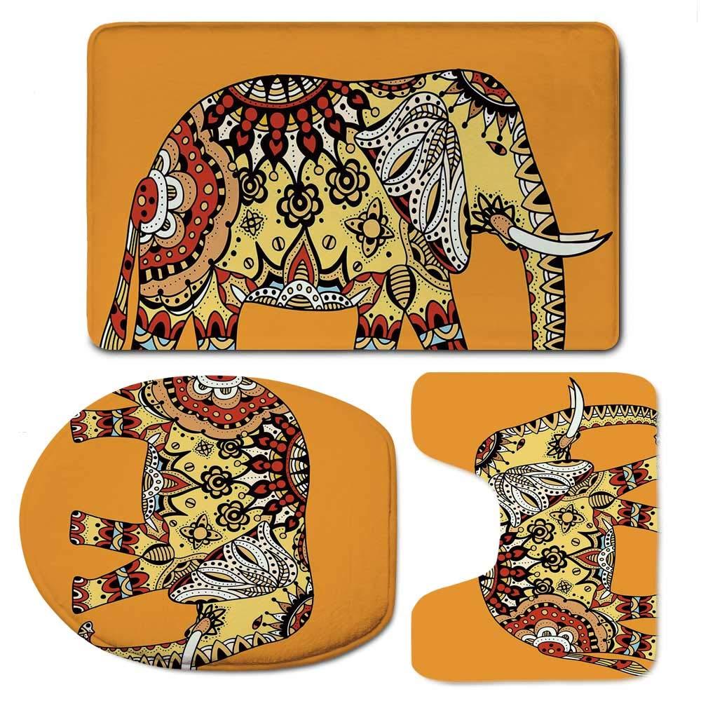 YOLIYANA Elephant Mandala Simple Bathroom 3 Piece Mat Set,Marigold Backdrop Animal with Paisley Floral Details Strength of Spirit for Living Room,F:20'' W x31 H,O:14'' Wx18 H,U:20'' Wx16 H
