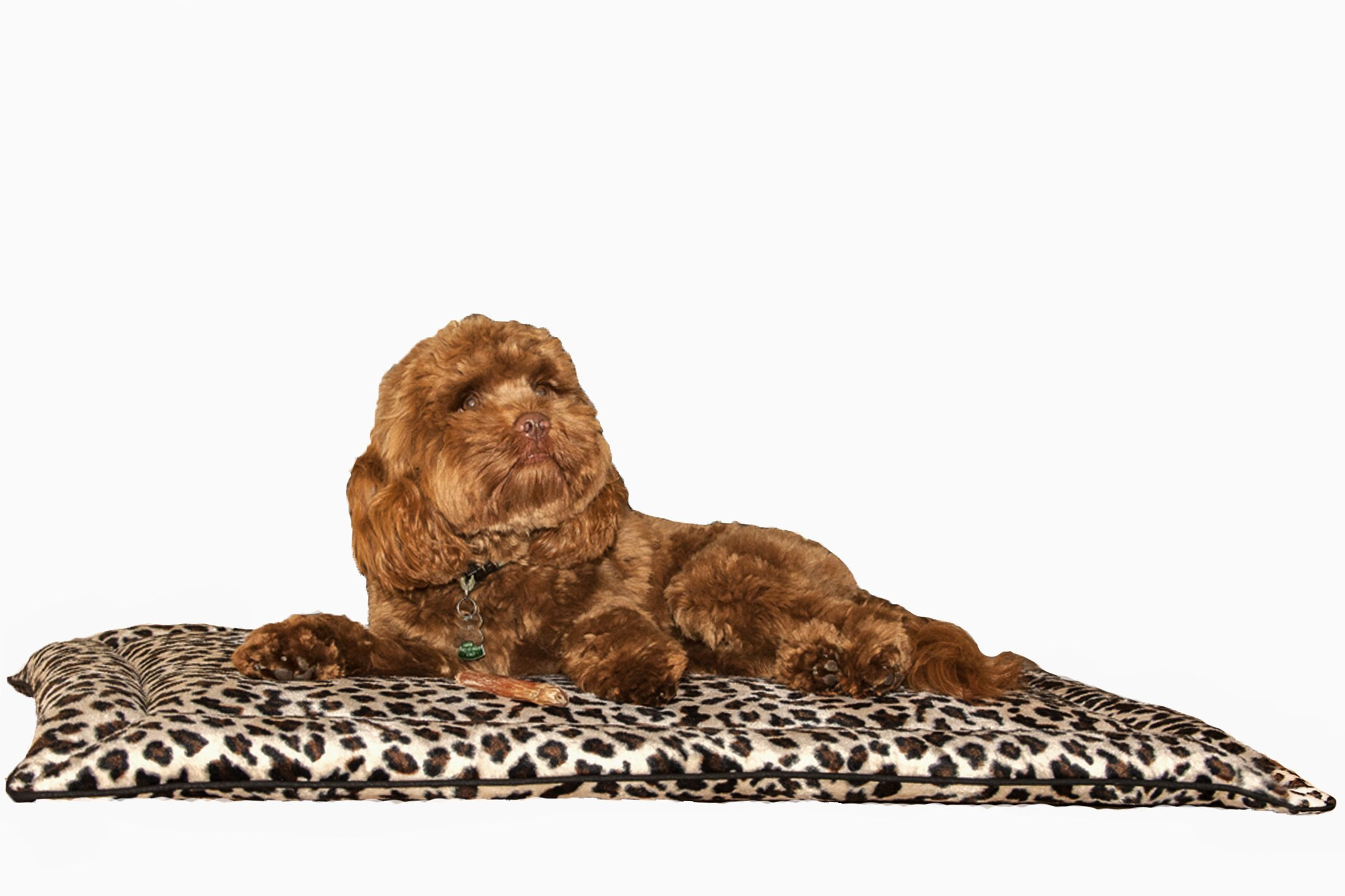 Designer Duds for Dogs Leopard Polyester Faux Fur Dog Mat Dog or Cat Crate Mat Bed Cushion Cozy Fleece Nap Pad (L) 42''x28''