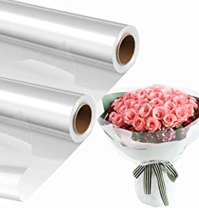 2 Pack Clear Cellophane Wrap Roll (31.5 in x 220 ft), 30 Mic Thick Crystal Clear Cellophane Bags, Clear Wrapping Paper to Wrap Baskets, Gifts, Flowers, Arts & Crafts, Food Safe Cello Rolls