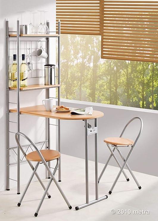 Mesa de Cocina con estantería y 2 sillas, Plegable, de Madera ...